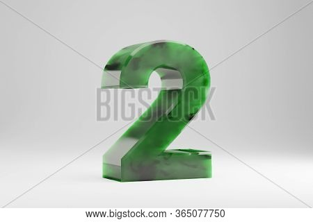 Jade 3d Number 2. Jade Number Isolated On White Background. Green Jade Semitransparent Stone Alphabe