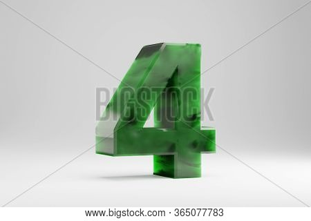 Jade 3d Number 4. Jade Number Isolated On White Background. Green Jade Semitransparent Stone Alphabe