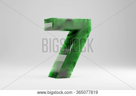 Jade 3d Number 7. Jade Number Isolated On White Background. Green Jade Semitransparent Stone Alphabe