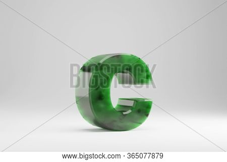 Jade 3d Letter C Lowercase. Jade Letter Isolated On White Background. Green Jade Semitransparent Sto