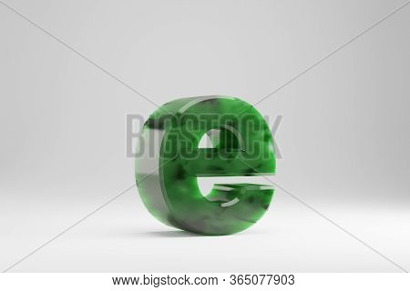 Jade 3d Letter E Lowercase. Jade Letter Isolated On White Background. Green Jade Semitransparent Sto