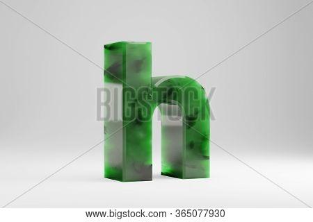 Jade 3d Letter H Lowercase. Jade Letter Isolated On White Background. Green Jade Semitransparent Sto