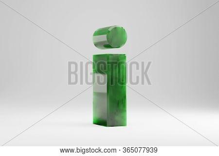 Jade 3d Letter I Lowercase. Jade Letter Isolated On White Background. Green Jade Semitransparent Sto