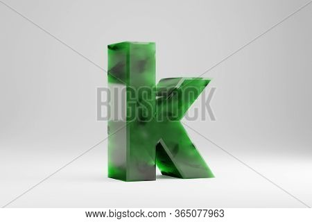 Jade 3d Letter K Lowercase. Jade Letter Isolated On White Background. Green Jade Semitransparent Sto