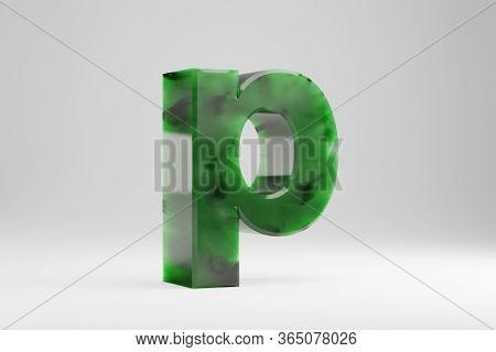 Jade 3d Letter P Lowercase. Jade Letter Isolated On White Background. Green Jade Semitransparent Sto