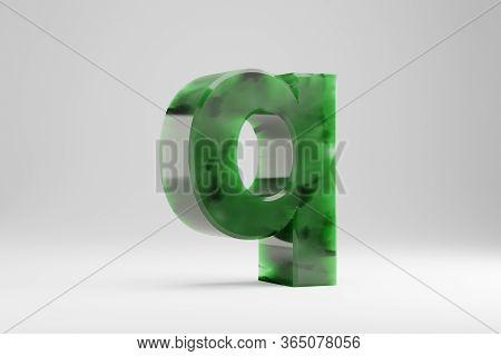 Jade 3d Letter Q Lowercase. Jade Letter Isolated On White Background. Green Jade Semitransparent Sto