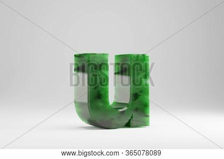 Jade 3d Letter U Lowercase. Jade Letter Isolated On White Background. Green Jade Semitransparent Sto