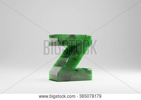 Jade 3d Letter Z Lowercase. Jade Letter Isolated On White Background. Green Jade Semitransparent Sto