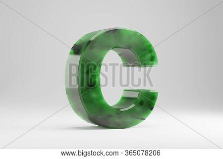 Jade 3d Letter C Uppercase. Jade Letter Isolated On White Background. Green Jade Semitransparent Sto