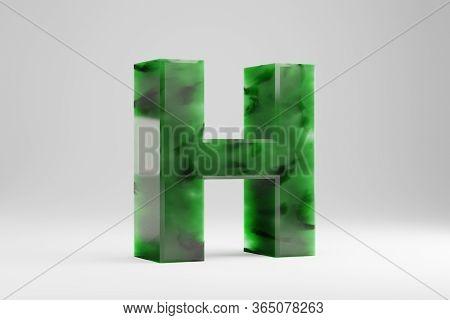 Jade 3d Letter H Uppercase. Jade Letter Isolated On White Background. Green Jade Semitransparent Sto