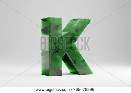 Jade 3d Letter K Uppercase. Jade Letter Isolated On White Background. Green Jade Semitransparent Sto