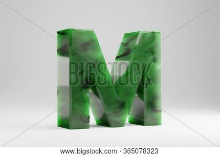 Jade 3d Letter M Uppercase. Jade Letter Isolated On White Background. Green Jade Semitransparent Sto