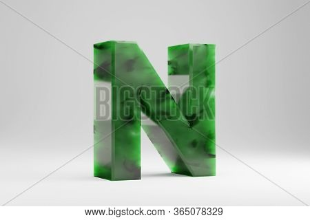 Jade 3d Letter N Uppercase. Jade Letter Isolated On White Background. Green Jade Semitransparent Sto