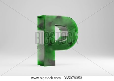 Jade 3d Letter P Uppercase. Jade Letter Isolated On White Background. Green Jade Semitransparent Sto