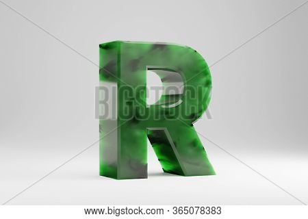 Jade 3d Letter R Uppercase. Jade Letter Isolated On White Background. Green Jade Semitransparent Sto