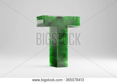 Jade 3d Letter T Uppercase. Jade Letter Isolated On White Background. Green Jade Semitransparent Sto