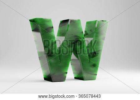 Jade 3d Letter W Uppercase. Jade Letter Isolated On White Background. Green Jade Semitransparent Sto