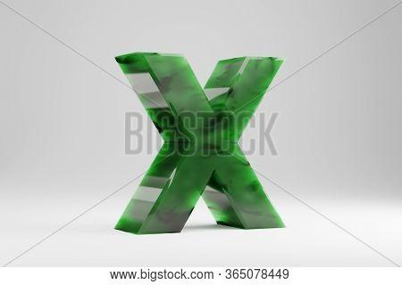 Jade 3d Letter X Uppercase. Jade Letter Isolated On White Background. Green Jade Semitransparent Sto