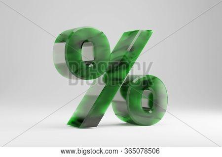Jade 3d Percent Symbol. Jade Sign Isolated On White Background. Green Jade Semitransparent Stone Alp
