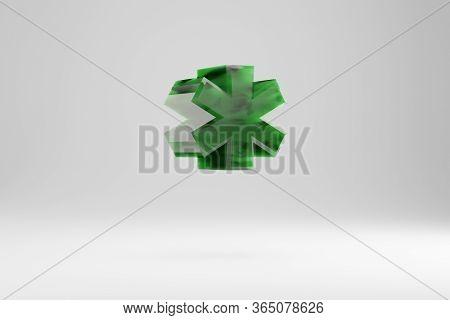 Jade 3d Asterisk Symbol. Jade Sign Isolated On White Background. Green Jade Semitransparent Stone Al