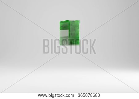 Jade 3d Quote Symbol. Jade Sign Isolated On White Background. Green Jade Semitransparent Stone Alpha