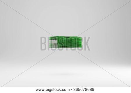 Jade 3d Minus Symbol. Jade Sign Isolated On White Background. Green Jade Semitransparent Stone Alpha