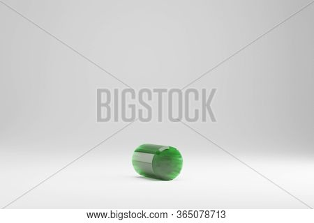 Jade 3d Point Symbol. Jade Sign Isolated On White Background. Green Jade Semitransparent Stone Alpha