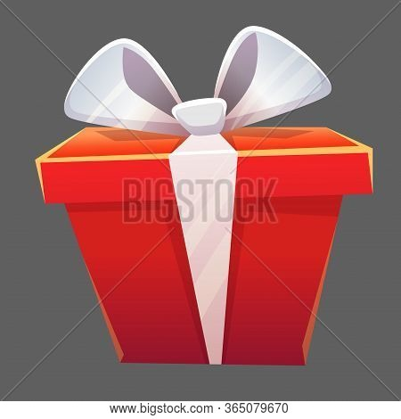 Win Icon Winner Prize Or Red Gift Box Red With Ribbon And Knotted Bow, Holiday Packaging Congratulat