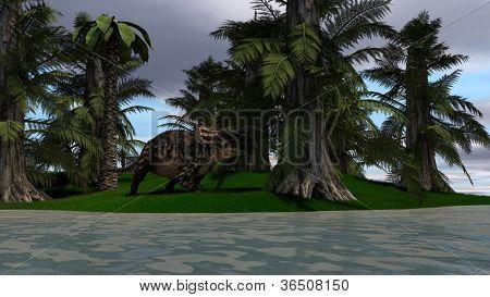 suchomimis dinosaurus in jungle