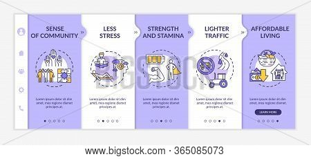 Country Lifestyle Onboarding Vector Template. Sense Of Community. Less Stress. Strength And Stamina.
