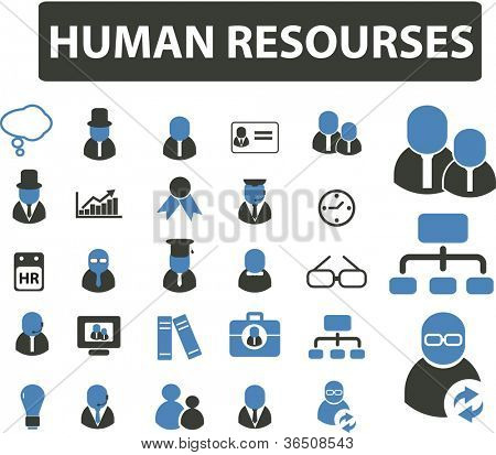 human resourses management & organization icons set, vector