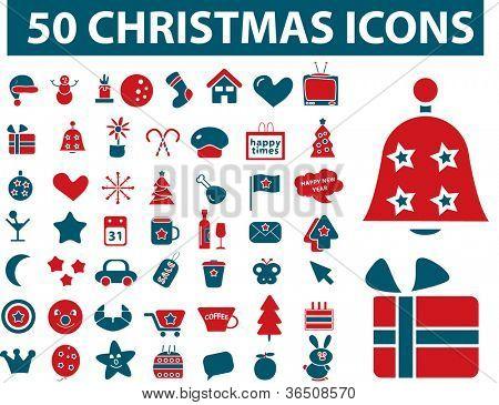 50 christmas icons set, vector