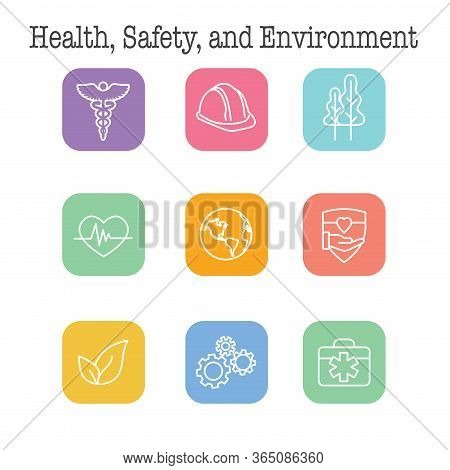 Health Safety & Environment Icon Set  With Medical, Safety, And Leaves Icons