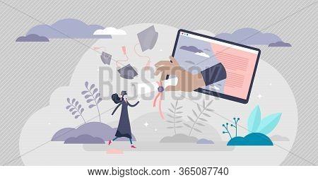 Virtual Graduation Ceremony Concept, Tiny Person Vector Illustration. Receiving College Or Universit