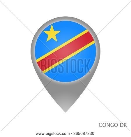 Map Pointer With Flag Democratic Republic Of The Congo. Colorful Pointer Icon For Map. Vector Illust