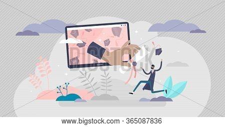 Virtual Graduation Ceremony Concept, Flat Tiny Person Vector Illustration. Receiving College Or Univ