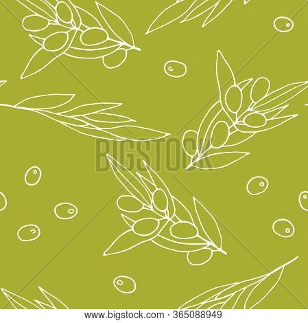 Seamless Pattern Olives. White Outline Olive Branches Isolated On Olive Background. Randomly Arrange