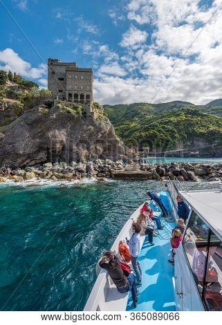 MONTEROSSO AL MARE, ITALY, MAY 15, 2018: Cruise Boat  in the centre of MONTEROSSO