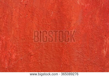 Beautiful Vintage Red Background With Old Red Paint With Rough Surface, Streaks And Uneven Texture O