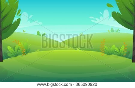 Green Grass Meadow At Park Or Forest Trees And Bushes Flowers Scenery Background , Nature Lawn Ecolo