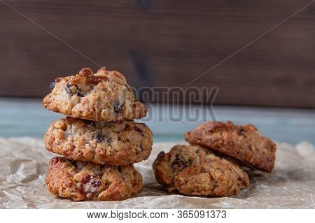 Oatmeal Cookies Stacked On Top Of Each Other. Cookies With Raisins. Handmade Cookies