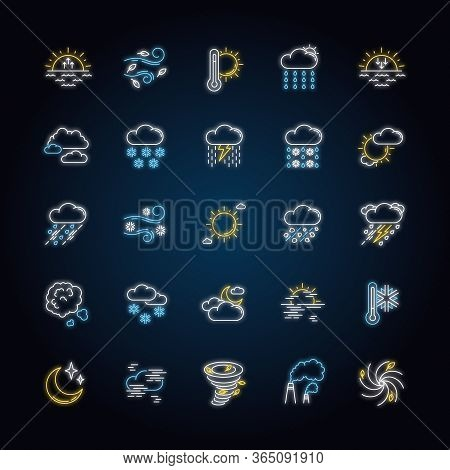 Weather Neon Light Icons Set. Meteorology Signs With Outer Glowing Effect. Sky Condition Prediction.