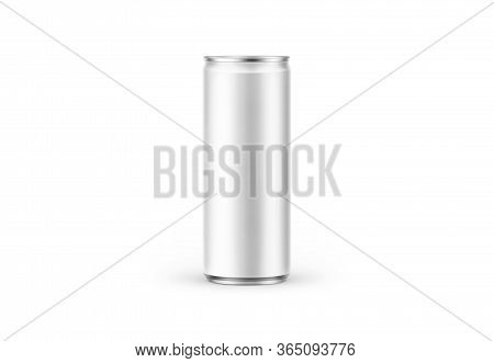 Aluminum Slim Can Isolated On Background. Soda Can Mock Up Good Use For Design Drink, Beer, Soda, Ju