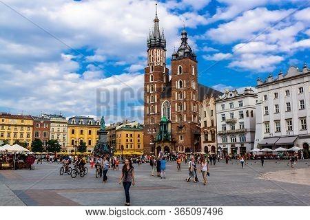 Krakow, Poland - 15 August 2012: St. Mary's Basilica On The Krakow Main (market) Square