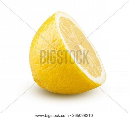 Lemon Half Isolated On White Background. Beautiful Fresh And Tasty Citrus Fruit Cut Close Up. Shiny