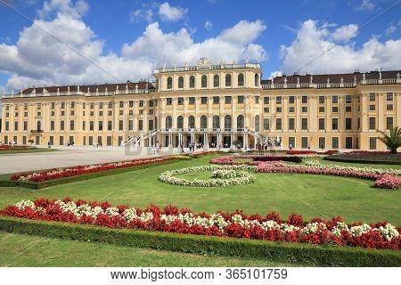 Vienna, Austria - September 6, 2011: People Visit Schoenbrunn Gardens In Vienna. Vienna Is The 17th