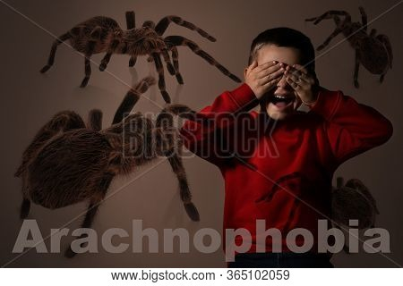 Arachnophobia Concept. Double Exposure Of Scared Little Boy And Spiders