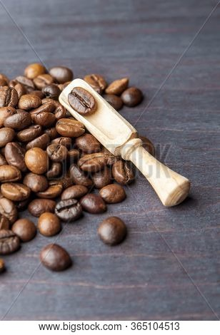Roasted Coffee Beans Coffee Beans On Wooden Background