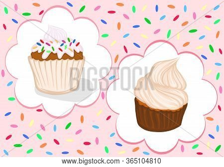 Banner Cupcake Cream And Powder Muffin Vector Sweets Dessert Pastries Delicacy Picture Food Color Il