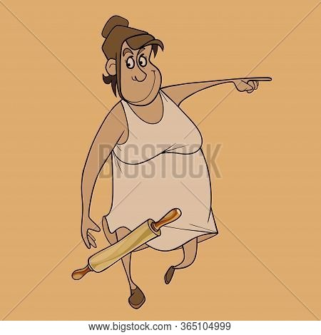 Funny Cartoon Principal Woman With Rolling Pin Points Finger To Side